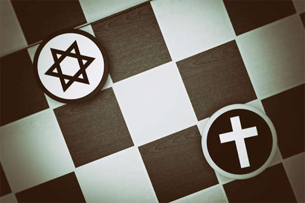 A Star of David and a cross representing Judaism and Christianity